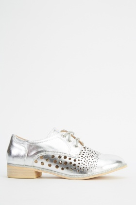 Metallic Laser Cut Lace Up Shoes
