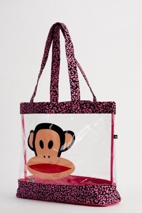 Monkey Contrast Transpa Beach Bag