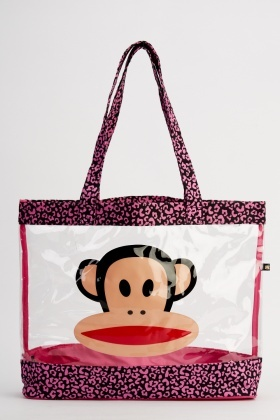 Monkey Contrast Transparent Beach Bag