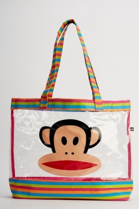 Striped Monkey Face Transparent Beach Bag