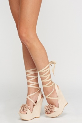 Velveteen Lace Up Wedge Sandals