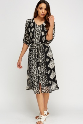 Aztec Print Midi Shirt Dress