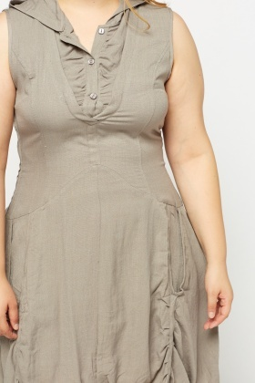 Dark Grey Hooded Detail Dress