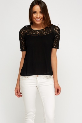 Detailed Back Lace Insert Top