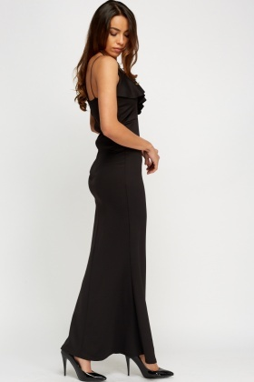 Frilled Black Bodycon Maxi Dress