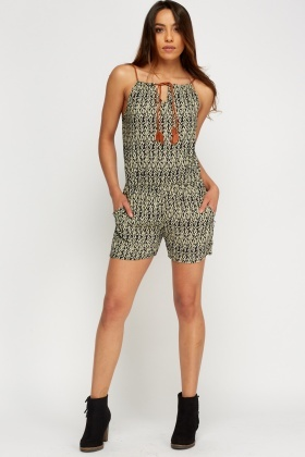 Printed Contrast Playsuit