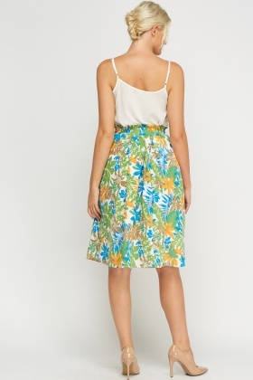 Box Pleated Floral Skirt