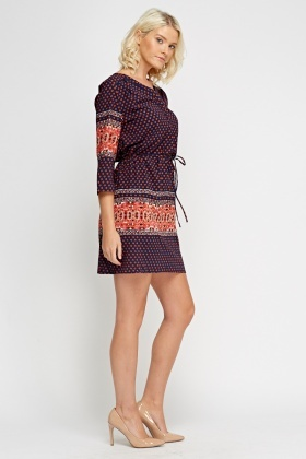 Mixed Print Tie Up Tunic Dress