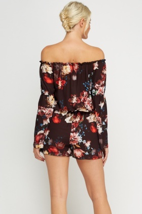 Off Shoulder Flare Sleeve Playsuit