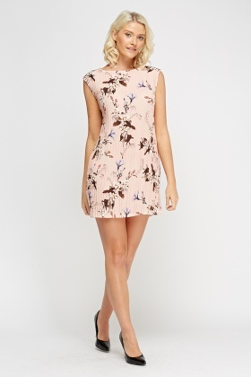 Pleated Bodycon Floral Mini Dress