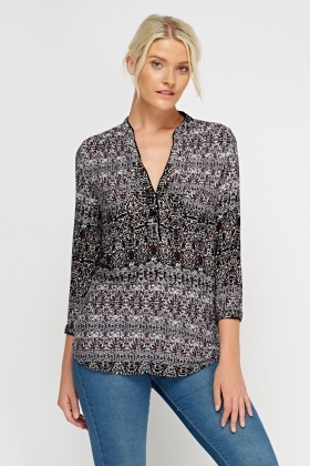 Printed Button Up Neck Top