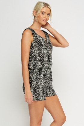 Printed Zip Front Playsuit