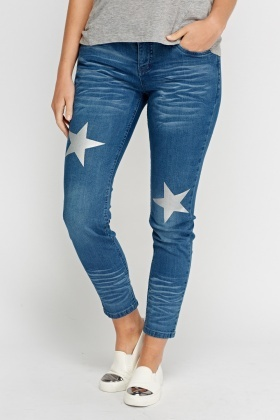 Star Print Skinny Denim Jeans