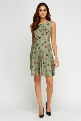 Butterfly Printed Swing Dress