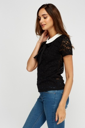 Contrast Collar Lace Top