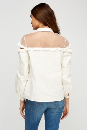 Mesh Insert Cut Out Shoulder Top