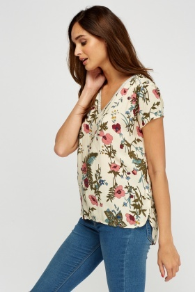Metallic Trim Printed Top