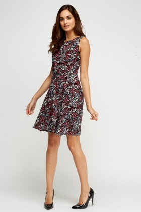 Mixed Floral Swing Dress