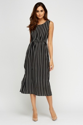 Mono Striped Midi Dress