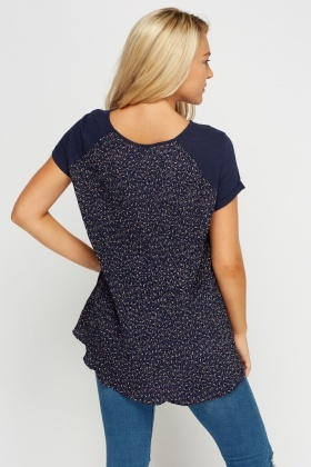 Printed Pleated Back Top