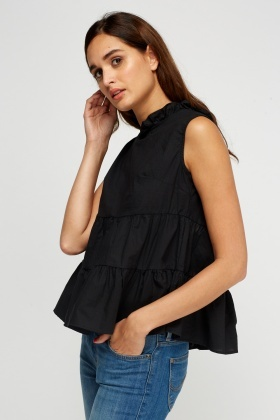 Tie Up Back Frilled Top