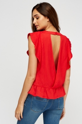 Wrapped Back Embroidered Top