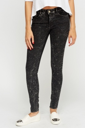Black Washed Out Skinny Jeans
