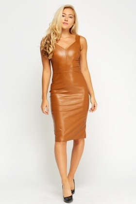 Camel Faux Leather Midi Dress