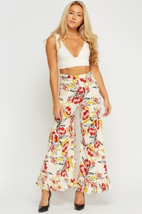 Frilled Hem Printed Wide Leg Trousers