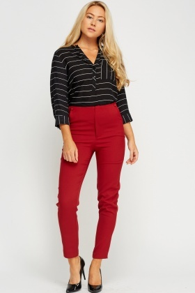 High Waist Tailored Trousers