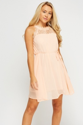 Lace Trim Sheer Dress