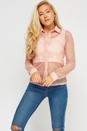 Mesh Button Up Top