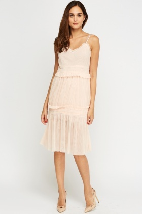 Mesh Frilled Midi Dress