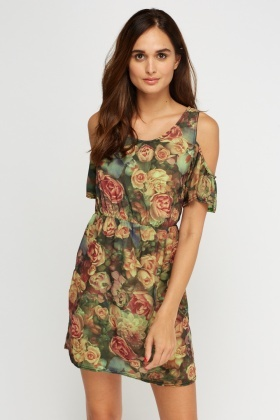 Printed Cut Out Shoulder Dress