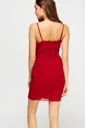 Ruched Lace Trim Dress