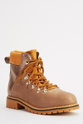 64328c04e9b Metallic Contrast Lace Up Boots
