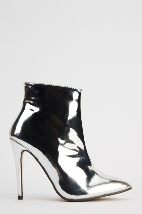 PVC Pointed Toe Heeled Boots