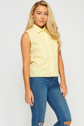 Sleeveless Button Up Top