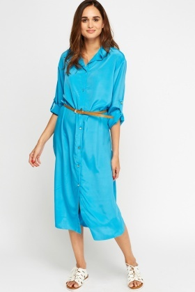 Slit Side Shirt Maxi Dress