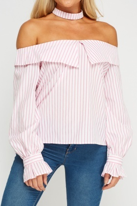 Striped Collar Flare Sleeve Top