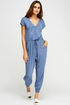 Wrap Elasticated Casual Jumpsuit