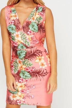 Wrap Printed Bodycon Dress