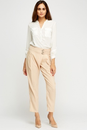 Wrap Waist Straight Trousers