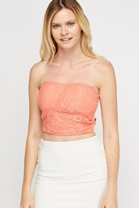 Bandage Lace Bandeau Crop Top