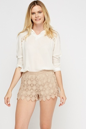 Beige Crochet Shorts