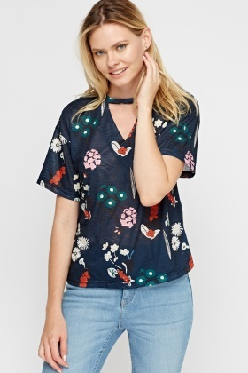 Cut Out Front Printed Top