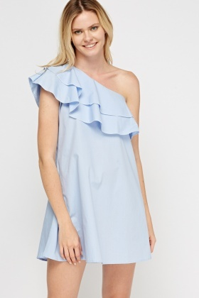 Frilled Mini One Shoulder Dress