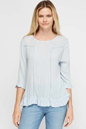 Frilled Trim Casual Top