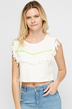 Fringed Trim Crop Top