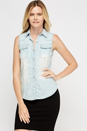 Light Blue Sleeveless Shirt